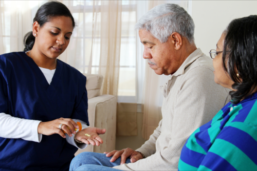 caregiver giving medicines to patient